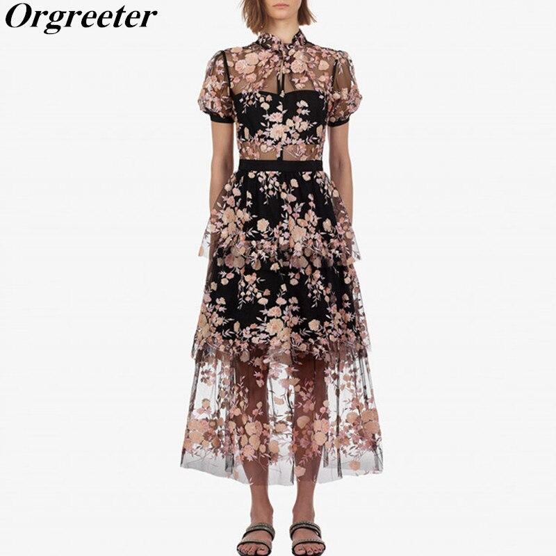 Self portrait Sequined Cherry blossoms Mesh Dress 2019 New arrive Sequins Black Flower Dress Short Sleeve
