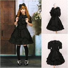 Kunden zu bestellen! V-1052 Schwarz Baumwolle Kurzen ärmeln Gothic Lolita Kleid schuluniform Halloween Cosplay Cocktailkleid
