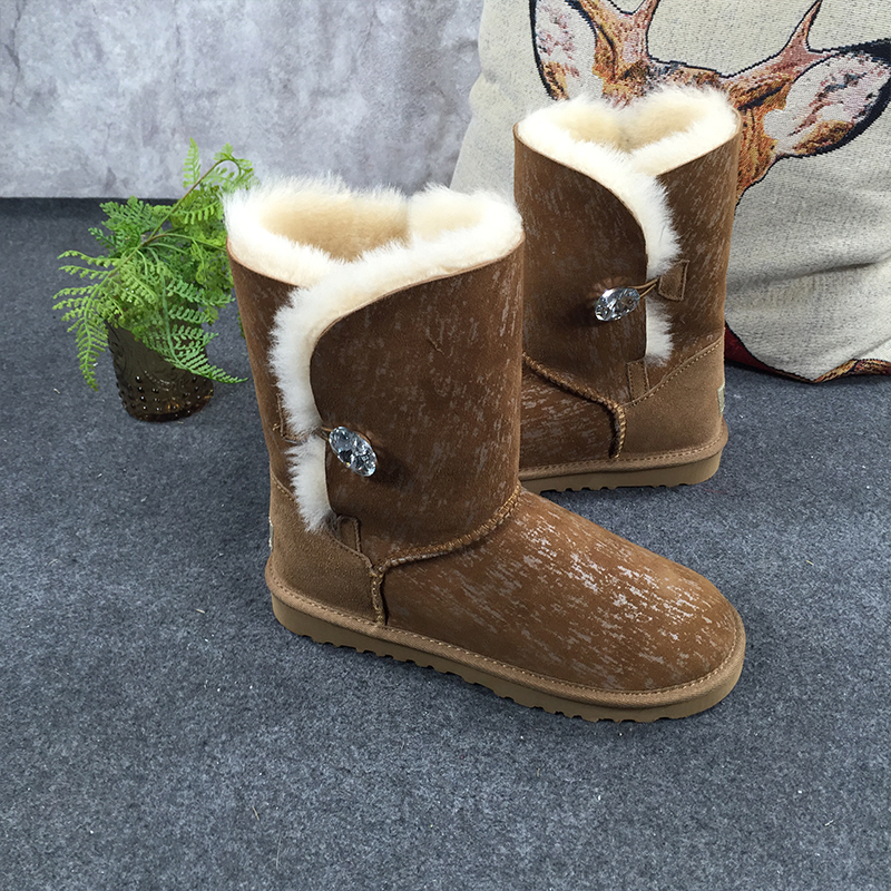 GXLLD Hot Sale Shoes Women Boots Fur One Tree grain Boots Solid Slip-On Soft Cute Women Snow Boots Round Toe Flat with Winter 2017 new arrival hot sale women boots solid bowtie slip on soft cute women snow boots round toe flat with winter shoes wsz31
