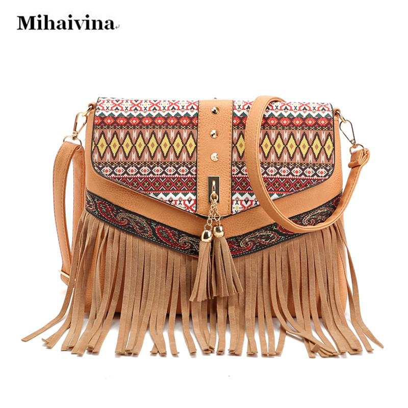 2017 Jaunas sievietes PU ādas pušķi rokassomas Vintage plecu somas Nacionālā stila Messenger soma Fashion Cross Body Bag Bolsas.