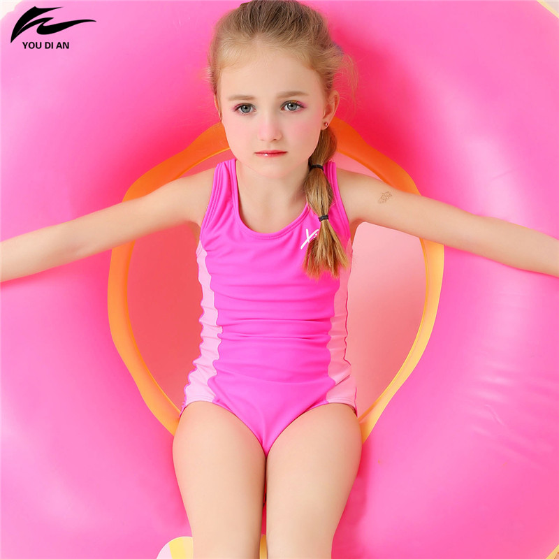 2cdf80f783dd3 YOUDIAN 2 13Y Lovely Baby Girl Swimwear Children One Piece Swimsuit Pink  Swim Suit Child Beach Wear Bathing Suit-in Children's One-Piece Suits from  Sports ...
