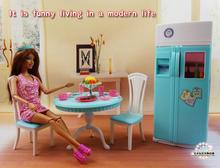 จัดส่งฟรีสาววันเกิดของขวัญเล่นชุดของเล่นตุ๊กตาพื้นที่รับประทานอาหารตู้เย็น play ชุดตุ๊กตาเฟอร์นิเจอร์สำหรับตุ๊กตาบาร์บี้