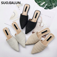 SUOJIALUN 2019 Spring Summer Women Slippers Weave Flat Shoes Ladies Mules Pointed Toe Half Casual Outside Slides