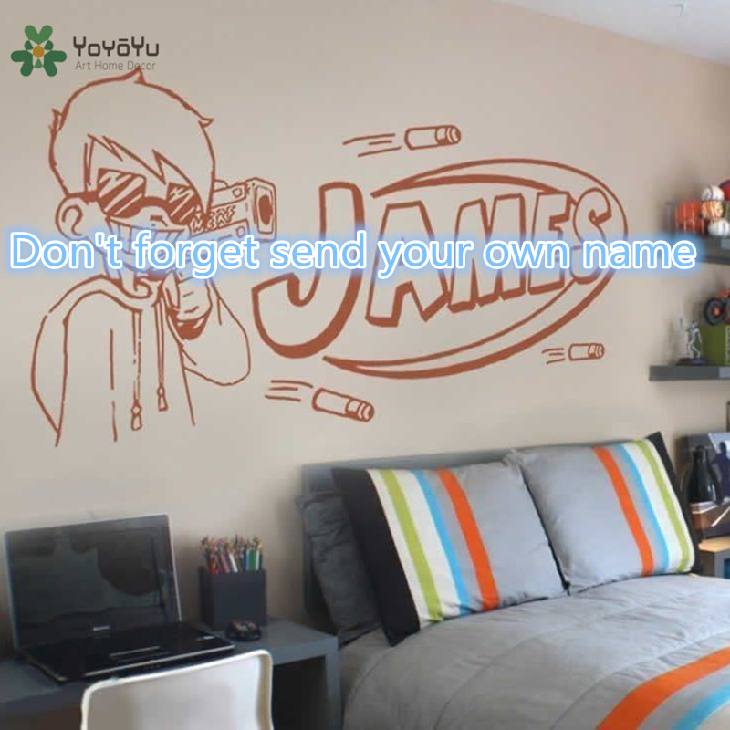 Yoyoyu Wall Decal Vinyl Art Room Decoration Nerf Guy Gun Inspired Bedroom Sticker Boys Personalised Home Mural Yo583 In Stickers From