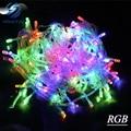 Luz de la navidad de Vacaciones 10 m 100 LED string de opción 8 Colores Rojo/verde/RGB Impermeable Luz de Navidad Del Partido Jardín luz de navidad