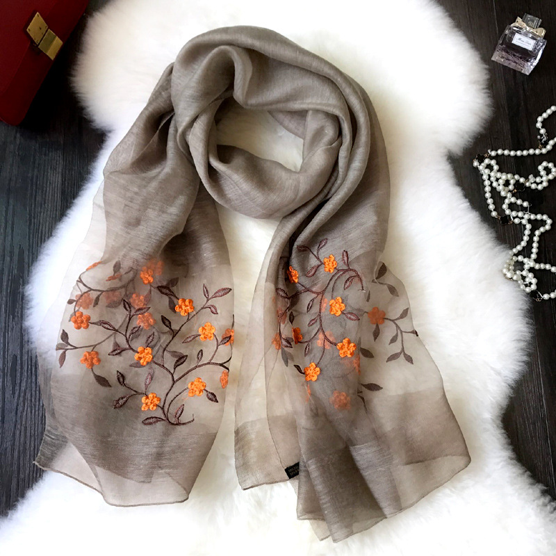 2018 new brand women scarf spring summer silk scarves shawls and wraps lady pashmina beach stoles foulard Luxury embroider hijab