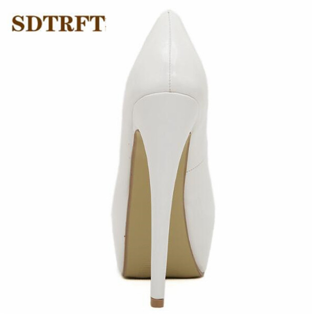 SDTRFT Plus:35-44 zapatos mujer 15cm thin high heels Patent leather platform wedding shoes woman sexy Crossdresser SM pumps 1
