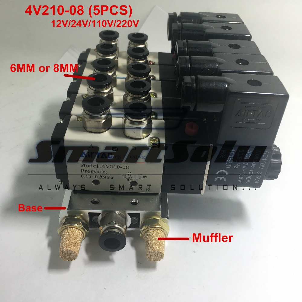 Free shipping 5 Way Manifold 1/4 bsp 4V210-08 Quintuple Solenoid Valve Set Suit Connect Muffler 6MM 8MM Fitting Base free shipping triple solenoid valve 4v210 08 2 position base muffler connect 6mm 8mm quick fitting valves set 1 4 bsp