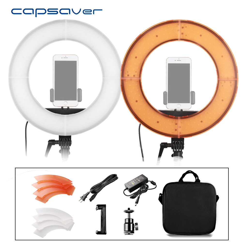 capsaver 12in LED Ring Light photography Lighting Circle Light for Youtube Photo Camera Phone Studio Video Lamp High CRI 5500K 1pc 150w 220v 5500k e27 photo studio bulb video light photography daylight lamp for digital camera photography