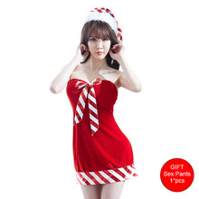 0dffe9d54e6 DRAIMIOR Christmas sexy lingerie lace babydoll plus size women erotic  Costumes porno underwear tube top dress Set Gift NJY0156