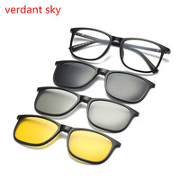 2017 New TR90 Ultra Light Magnet Clip On Sunglasses Polarized Men Women Square Eyeglasses Myopia Optic Frames Night Vision Clip