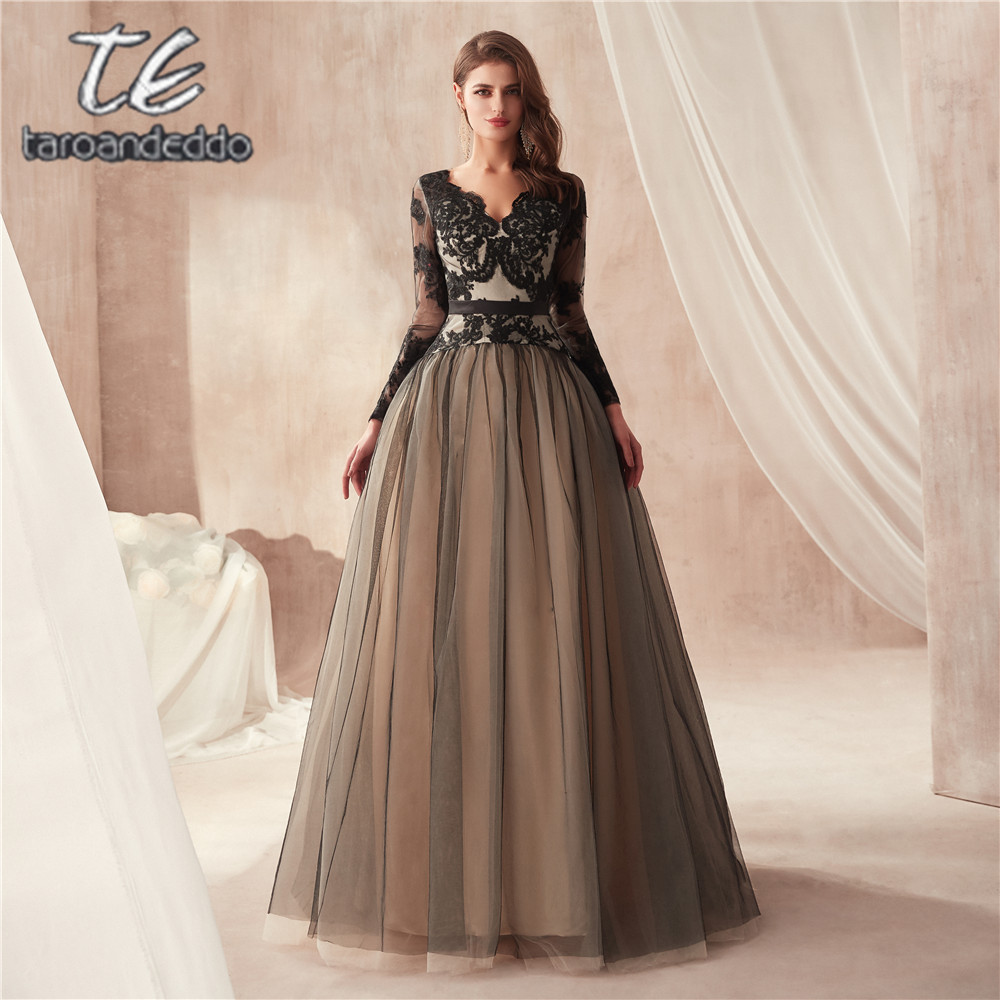 Black and Nude A line Illusion Long Sleeves Lace Bodice Tulle Skirt Keyhole Open Back Prom