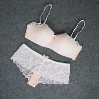Fashion Sexy Bra Set Lace Cup Thin Wireless Tube Top Design Underwear Accept Supernumerary Breast Shaping