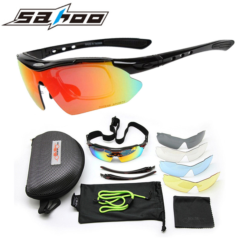 SAHOO Polarized Cycling Bike Sun Glasses Outdoor Sports Bicycle Bike Sunglasses TRS818 Goggles Eyewear 5 Lens Bicycle Accessory rockbros polarized cycling sun glasses outdoor sport bicycle glasses bike sunglasses tr90 goggle eyewear 5lens with myopia frame