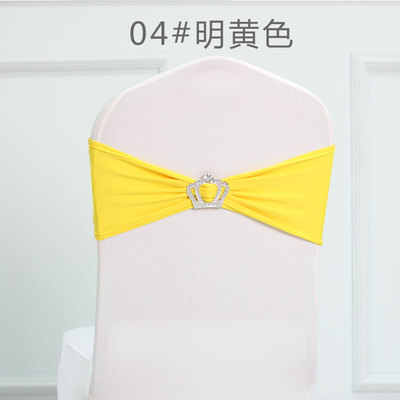 Yellow colour Crown buckles lycra sash for wedding chairs decoration spandex band stretch bow tie lycra ribbon belt on sale
