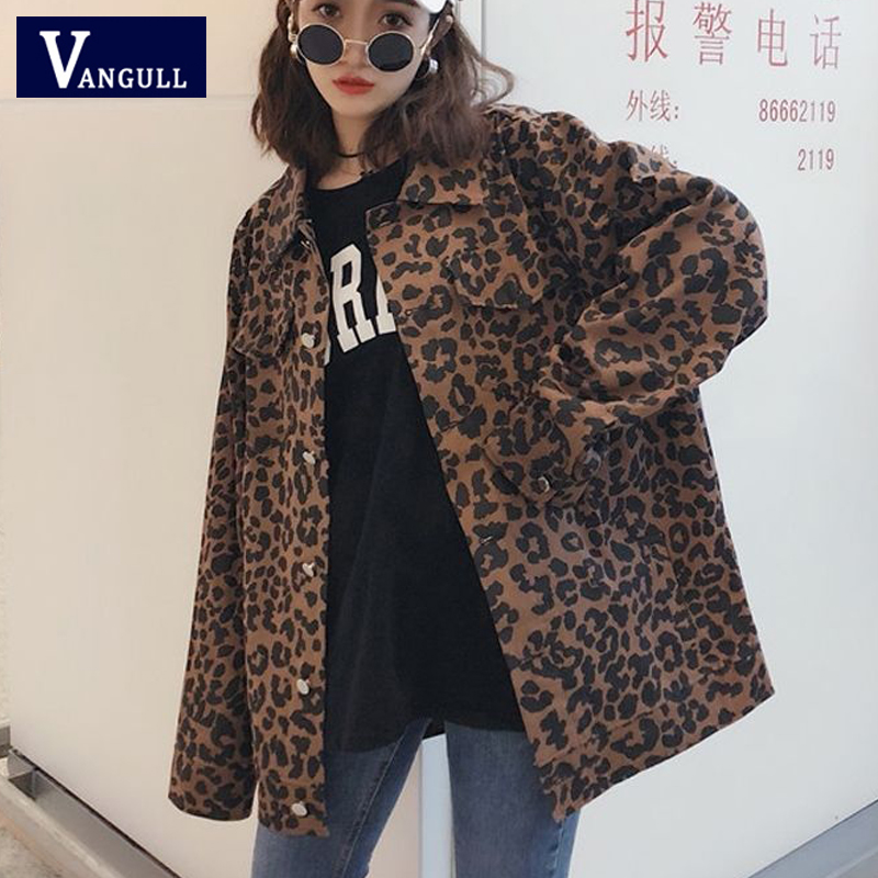 Vangull Women Leopard Denim   Jackets   Batwing Sleeve Loose Print   Basic     Jacket   2019 Autumn New Style Single Breasted Long Jean Coat