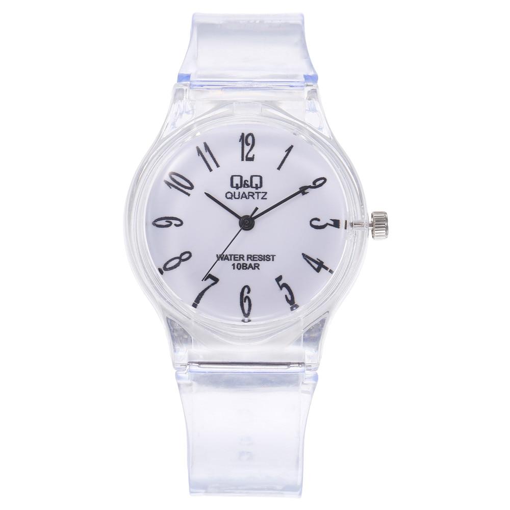 Fashion Creative Student's Watches Quartz Wrist Digital Dial Women's Watches Transparent Plastic Band Reloj Hombre Round XB40