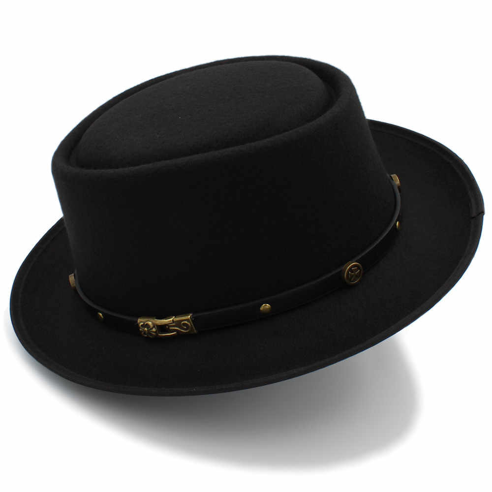 Fashion Women Men Pork Pie Hat Dad Wool Flat Fedora Hat For Gentleman  Gambler Fascinator Trilby 9189d8896cae