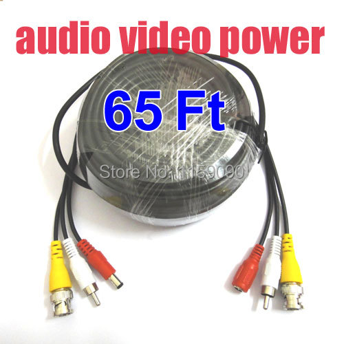 20M 65 Feet Video Audio Power Extension CCTV Cable For Security Camera