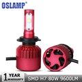 Oslamp h7 levou farol do carro lâmpadas cree fichas smd 80 w 9600lm 6500 K Levou Kits de Farol Auto Farol Dianteiro Luz de Nevoeiro Lâmpadas 12 v 24 v