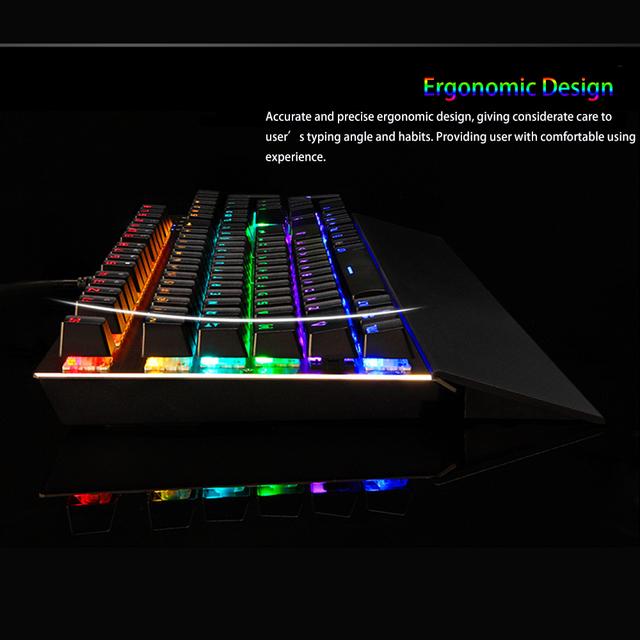 MOTOSPEED Professional Ergonomic USB Wired RGB Mechanical Gaming Keyboard with Anti-ghosting 104 Keys LED Backlit Blue Switches