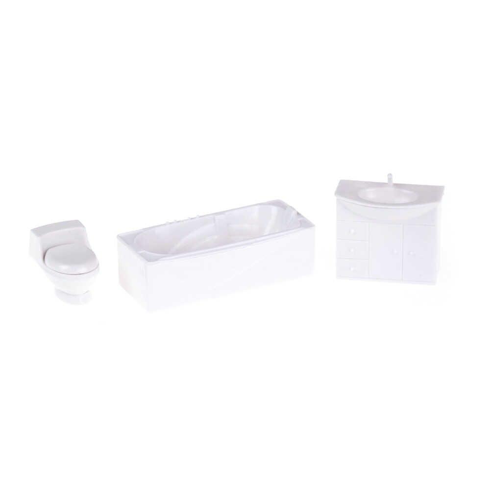 3 Stks/set 1/12 Pretend Play Speelgoed Poppenhuis Miniatuur Closestool Bad Wastafel Model Set