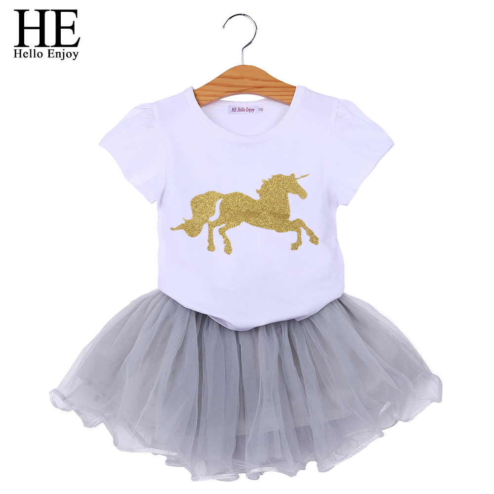 HE Hello Enjoy Unicorn Baby Girls Clothes Sets Animal Short Sleeves T-shirt+Tutu Skirt Tracksuits Costumes Kids Girls Clothing