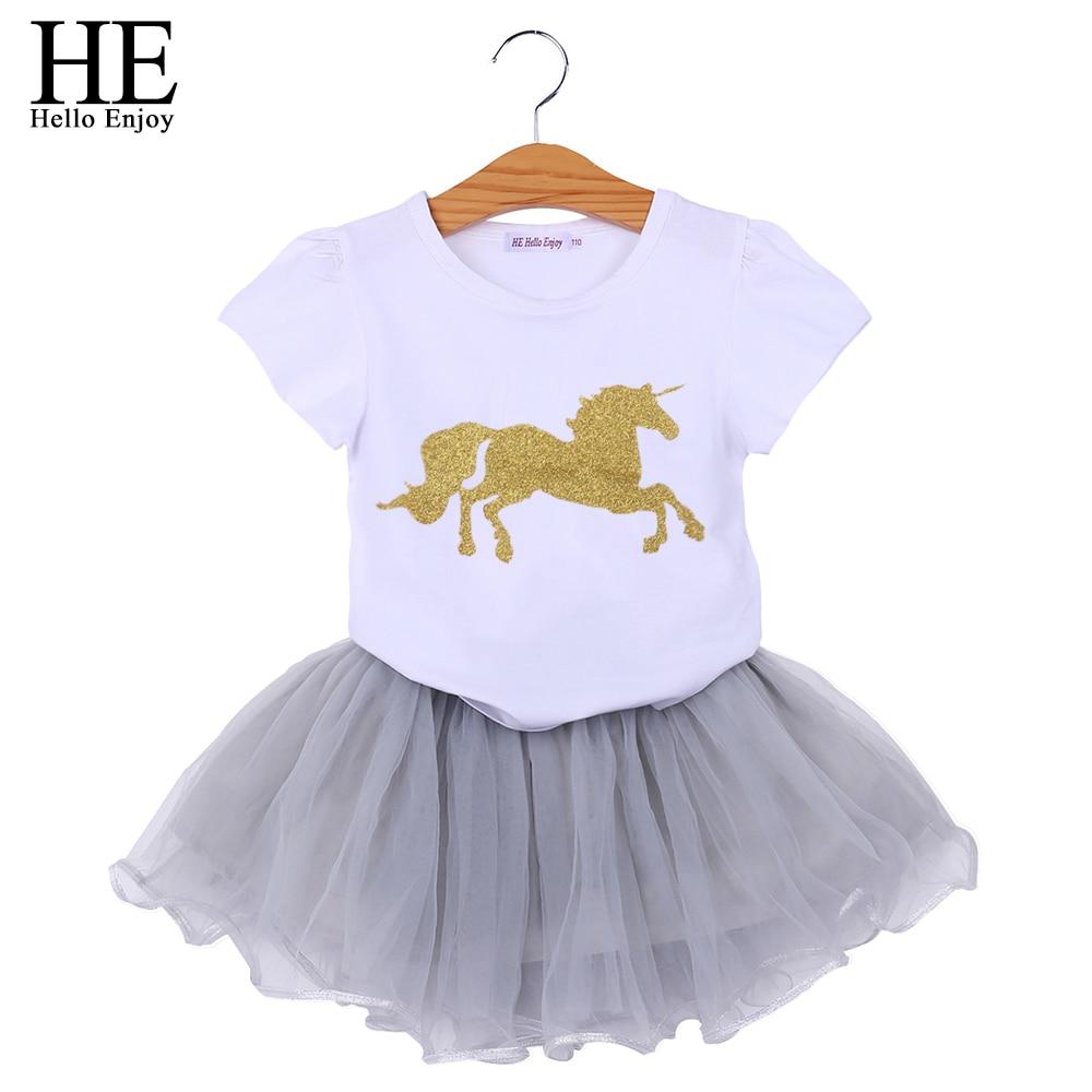 HE Hello Enjoy Unicorn font b Baby b font Girls Clothes Sets Animal Short Sleeves T