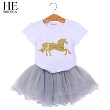 HE Hello Enjoy Unicorn Baby Girls Clothes Sets Animal Short Sleeves T-shirt+Tutu Skirt Tracksuits Costumes Kids Girls Clothing