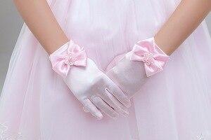 Image 5 - 10 ชิ้น/ล็อตเด็กสาวดอกไม้สั้นถุงมือสีขาวสีแดงสีชมพูลูกไม้ถุงมือเครื่องแต่งกาย dacning ถุงมือจัดส่งฟรีขายส่ง