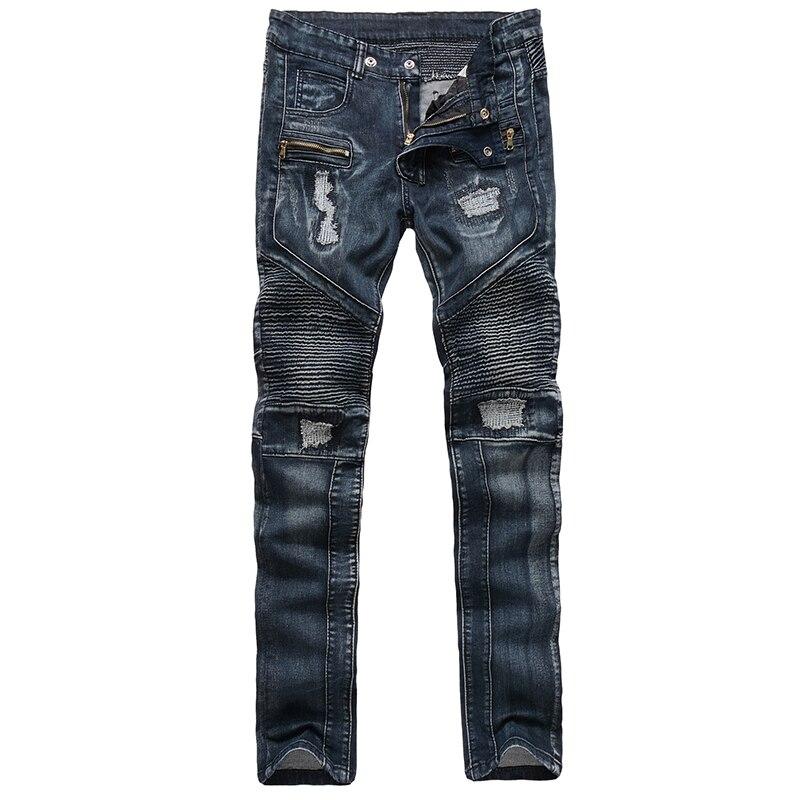 Men's fashion slim biker jeans men casual denim cargo pants long trousers motorcycle pants mens jeans