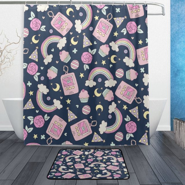 Cute Rainbow Cupcake Flower Waterproof Polyester Fabric Shower Curtain With  Hooks Doormat Bath Floor Mat Bathroom
