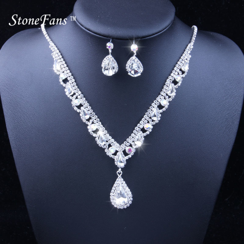 6e91fc4650 StoneFans Simple Red Necklace And Earring Girls Necklace Set Luxury ...