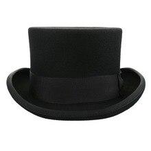 Classic Black Men Top Hat Wool Fedora Hat Pure Wool Gentleman Winter Hat Piilbox