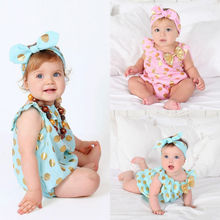 Cute Newborn Baby Girls Clothes Polka Dot Bownot Bodysuits Jumpsuit Hairband Outfits Sunsuit
