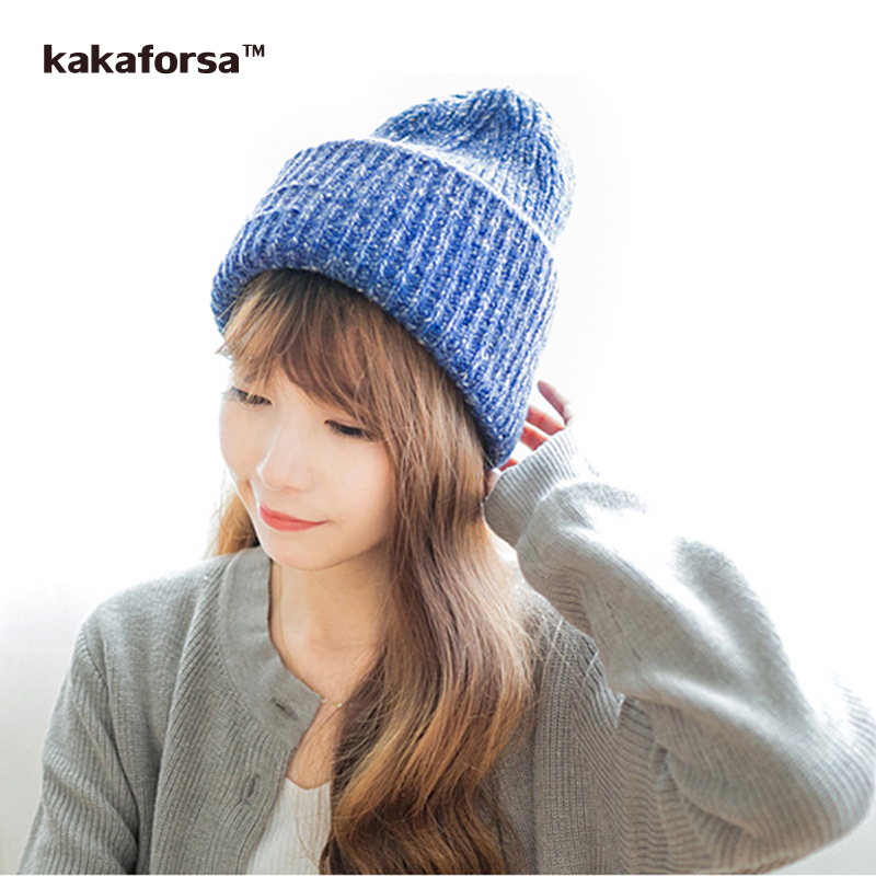 Fashion Winter Women Warm Wool Hat Casual Solid Knitted Beanies Thickened Soft Crochet Cap for Girls bonnet femme Free Size wool felt cowboy hat stetson black 50cm
