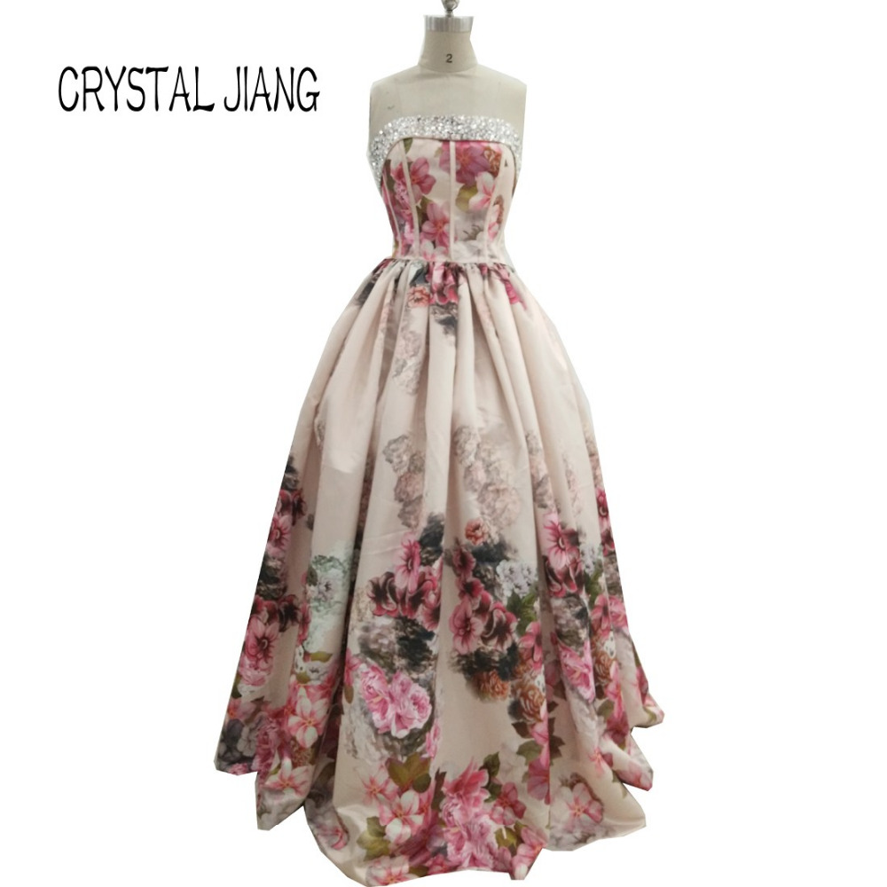 Real Pictures 2017 Strapless Floral Print Shiny Crystal Beaded ...