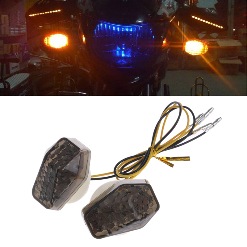 2pcs Motorcycle LED Mount Indicator Flasher Mount Light Turn Signal Lamp Amber Light For Suzuki GSXR 600 Smoked Hood Yellow