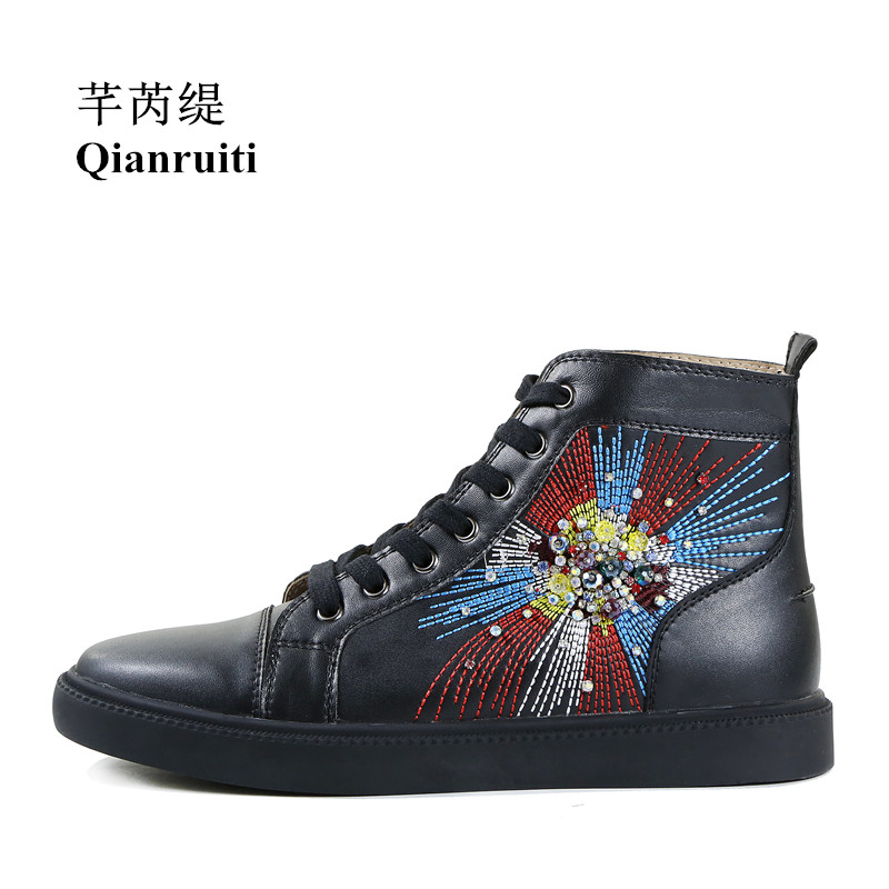 Qianruiti 2018 Men Embroidery Diamond Shoes Lace-up Crystal Flat High Top Firework Rhinestone Sneakers EU39-EU47 2018 top quality men mixed color embroidery shoes low top lace up sneaker rhinestone crystal sapatos men casual shoes