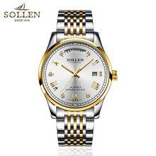 лучшая цена SOLLEN Fashion Luxury Brand Full Steel Tourbillon Watch Automatic Men Wristwatch Men Mechanical Steel Watches Relogio Masculino