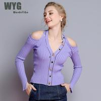 Violet Cold Shoulder Sweater 2018 Autumn WYG Top Brand Hot Sale Leopard Crystals Buttons Sexy Long Sleeve Cut Out Cardigans
