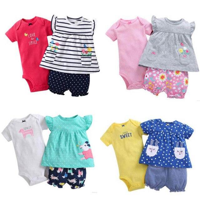 7b2895821391 3PCS SET Newborn infant baby girl clothing2018 Summer Cotton Quality ...