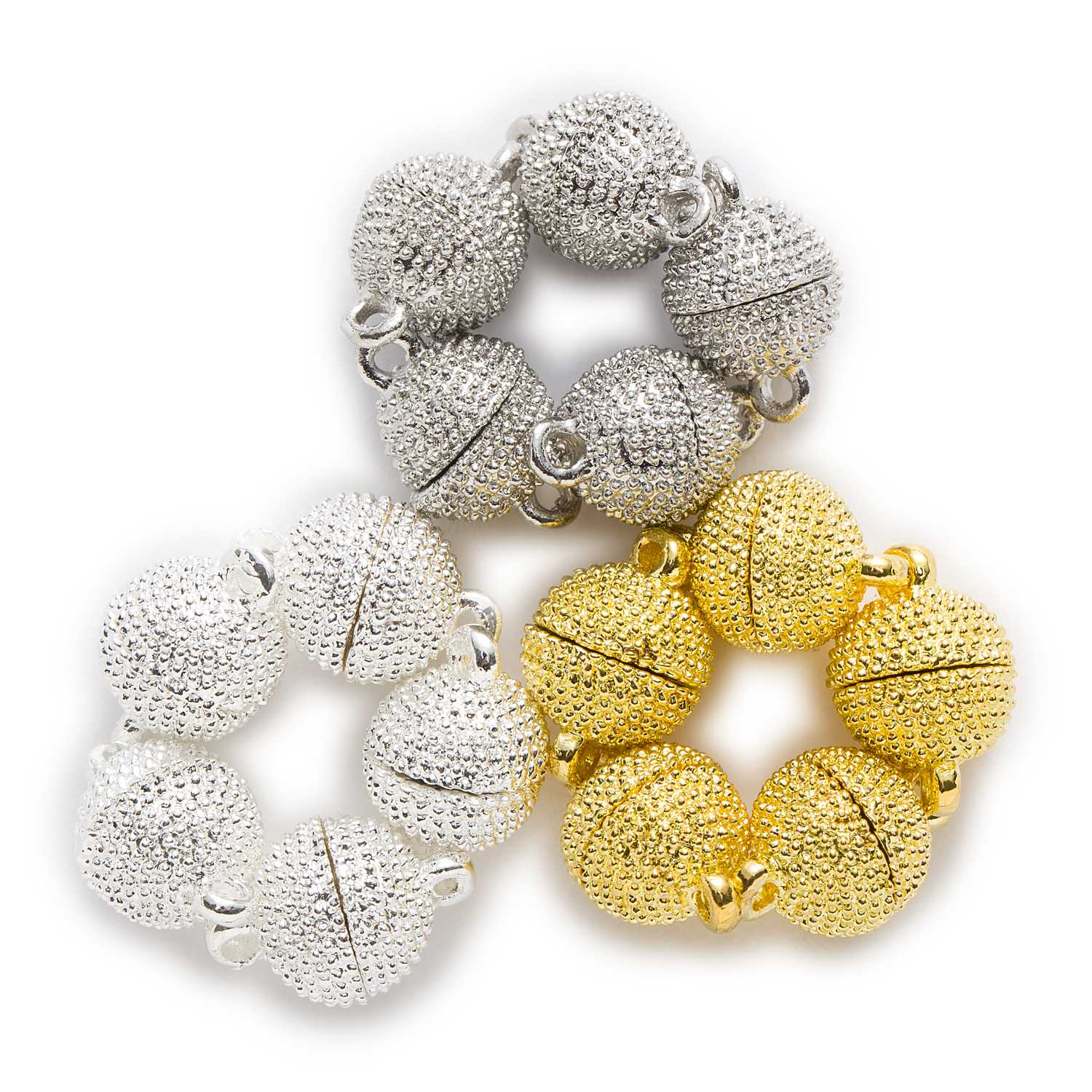 2 Sets Round Polka Dots Carving Magnetic Clasps Findings Jewelry Making Connectors Accessories 8-10mm 10 25yards new arrive 3 8 10mm satin ribbon polka dots printed ribbon with white dots diy hairbow accessories more color