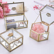 Luxury Fashion Glass Display Jewelry Earring Showcase Trinket Box Storage Holder Container Wedding Gifts Crown Glass Jewelry Box