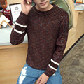 2016 New Arrival Spring Autumn Winter High Fashion Men's Casual Long Sleeved O-neck Pullover Striped Slim Fit Sweater Brown/Navy