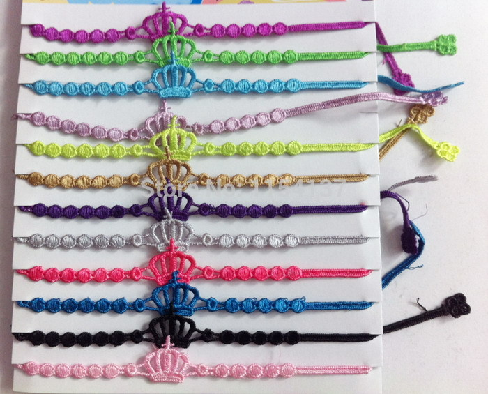 12pcs/bag New Beautiful mix colors random Crown Lace macrame Bracelets italy lace bracelets&bangles for women 19styles