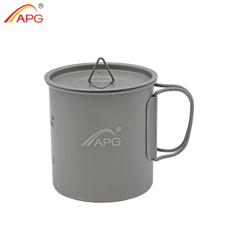 APG Ultralight Titanium Picnic Camping Cup Water Mug Foldable Handle Pot Coffee Tea Cup With Lid