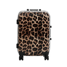 24 INCH 202428# new aluminum frame leopard trolley suitcase of western style universal wheel waterproof boarding check box #E