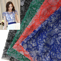Fashion Net Embroidery Lace Fabrics Wedding Dress Fabric Embroidery Clothing Accessories African Tulle Lace Fabric Organza