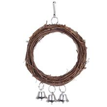 Wooden Parrot Swing Bandit Rattan Ring Bite Bird Toy Stand Birdcage Accessories Supplies